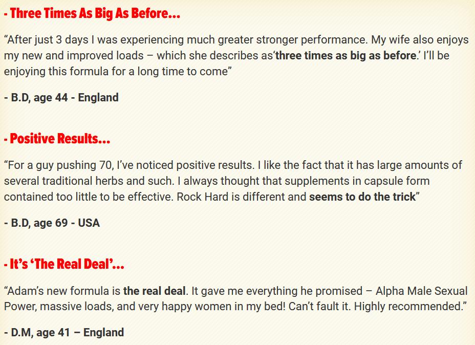 Rock Hard Formula Customer Reviews